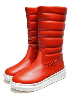 IDIFU Women's Warm Heighten Flat Mid Calf Snow Boots Orange ** Check out the image by visiting the link.