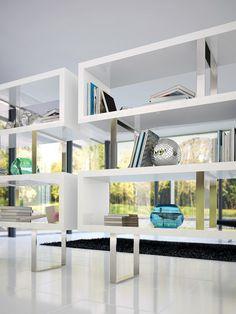 White Lacquer Pearl Bookcase - Gilt Home