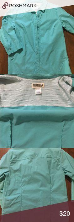 """Magellan ladies fishing shirt Nice aqua colored ladies fishing shirt from Magellan Sportswear. size S. measures 18"""" pit -pit & 25"""" from shoulder to bottom. In EUC! Magellan Sportswear Tops Button Down Shirts"""