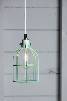 Industrial Pendant Light Plug In | Industrial Pendant Lighting - Mint Green Wire Cage Light