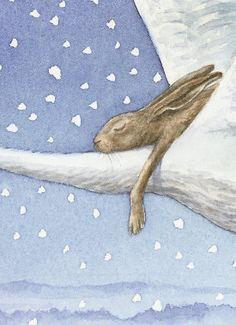 Magical - hare asleep on flying white bird