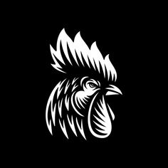 Rooster head vector illustration on dark background Premium Vector Rooster Vector, Rooster Art, Bird Drawings, Cartoon Drawings, Arte Do Galo, Rooster Illustration, Rooster Tattoo, Phoenix Tattoo Design, Acid Art