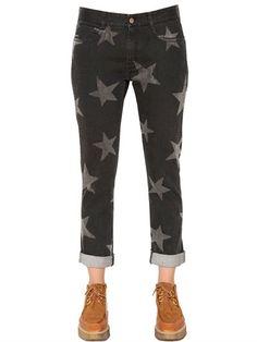 STELLA MCCARTNEY Skinny Boyfriend Star Print Denim Jeans, Black/Grey. #stellamccartney #cloth #jeans