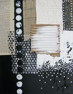 black and white mixed media painting.  abstract canvas art.  sparkle and fade.