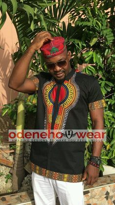 Odeneho Wear Men's Black Polished Cotton Top With by Odenehowear