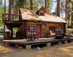 Today's cabin in the woods is a beautiful little two story log cabin
