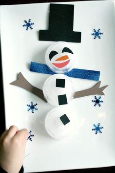 Decorate a Snowman Icy Winter Sensory Play and Science Experiment
