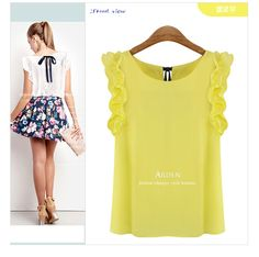 2014 summer new women's wear sleeveless women chiffon blouse pure color joker women cultivate one's morality shirt