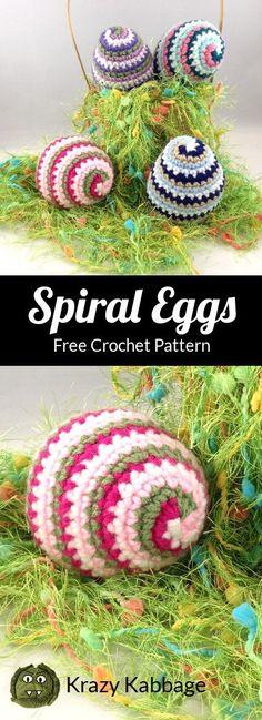 Crochet Spiral Easter Eggs – Krazy Kabbage – Knitting and crocheting Easter Egg Pattern, Easter Crochet Patterns, Crochet Crafts, Crochet Yarn, Crochet Toys, Crochet Projects, Free Crochet, Crochet Ideas, Spiral Crochet Pattern