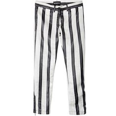 Ann Demeulemeester Black and White Striped Trousers (47,675 INR) ❤ liked on Polyvore featuring pants, 80s pants, 80s punk rock fashion, striped pants, black white striped pants and black white pants