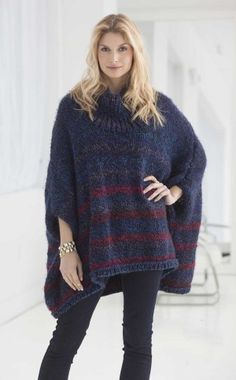 Penelope Poncho - way cuter in person and no stripes. Just like in the stores. Easy knit.   Saw it shorter.