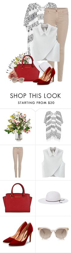 """""""Look up to the skies and see"""" by martinka ❤ liked on Polyvore featuring Nearly Natural, Velvet, 7 For All Mankind, WithChic, MICHAEL Michael Kors, House of Lafayette and Rupert Sanderson"""