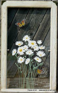 Panes of Art by Michele L. Mueller Window Pane Art www.panes-of Old Window Art, Old Window Crafts, Window Pane Art, Window Frames, Old Windows Painted, Painted Window Screens, Painting On Glass Windows, Old Wooden Doors, Arte Popular