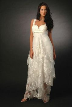 This pretty dress could be used at a Renewal of Wedding Vows ceremony, or for a Plus size bride who wants to look gorgeous in a roomy dress - perfect for a Queen size woman!