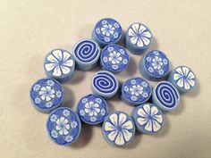 15 Polymer Clay Cane Beads Blue Flowers