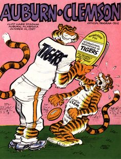 1967 Auburn Tigers vs Clemson Tigers 36 x 48 Canvas Historic Football Poster