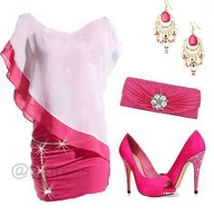Pink and white dress Pretty Outfits, Cool Outfits, Fashion Outfits, Womens Fashion, Pretty Clothes, Ladies Plus Size Dresses, Nice Dresses, Pink And White Dress, Pink Dress