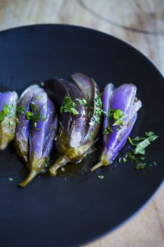 Moroccan Eggplant Pickles with coriander and cilantro, drizzled with olive oil. So tasty!   FEASTING AT HOME