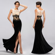 Stunning Black Lace Mermaid Prom Dresses Party Evening Gown Formal Appliques Chiffom Split Backless Sweep Train