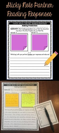 62 Partner Reading Response Sheets that use Sticky Notes! Encourages COLLABORATION!