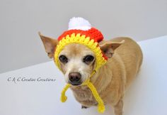 Candy Corn Inspired Dog Hat
