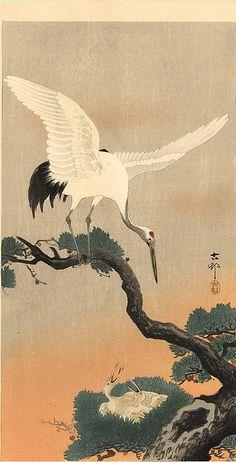 """Crane over his nest"" by Ohara Koson"