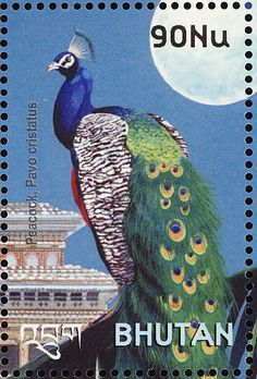 Indian Peafowl(Pavo cristatus) stamps from Bhutan