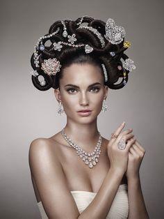extravagant hair jewelry up-do