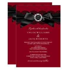 Shop Burgundy Red & Black Pearl Bow Wedding Invite created by Zizzago. Burgundy Wedding Invitations, Affordable Wedding Invitations, Inexpensive Wedding Venues, Personalised Wedding Invitations, Wedding Invitation Cards, Invitation Ideas, Personalized Wedding, Invitation Design, Wedding Stationery