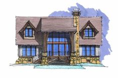 Sky View Lodge Front Elevation -- Natural Element Homes