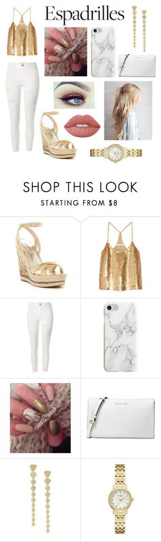 """""""Golden Night Espedrilles"""" by julie-clove ❤ liked on Polyvore featuring Bebe, TIBI, River Island, Recover, Michael Kors, Ron Hami, Kate Spade and Lime Crime"""