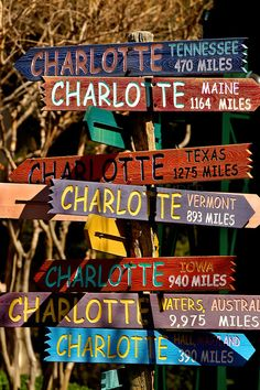 The Charlotte streetsign sculpture points visitors every which way from its location on The Green in downtown Charlotte, NC. The Green is a ...