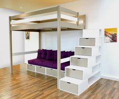 Lit mezzanine design bi-couleur Taupe/Blanc escalier cube, avec sa banquette cube, son futon et ses coussins en bois massif, fabrication française.
