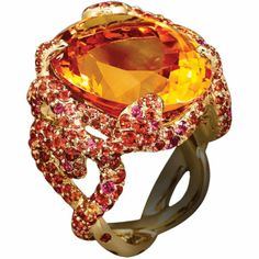 Citrine and sapphire ring by Lorenz Baumer