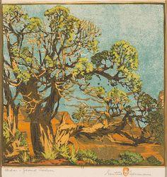 "Gustave Baumann, ""Cedar Grand Canyon"""