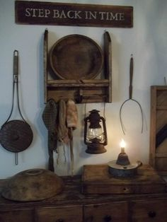 Items from times ago ... very creative way to use various items in todays decor.