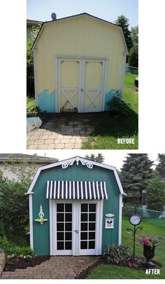 This is one great example of turning a boring shed into something breathtaking. I especially love the faux doors.