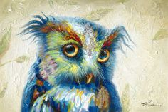 """""""Eyes on You"""" Whimsical Owl Print on Canvas x – The Phoenix Collection Owl Canvas, Canvas Prints, Streamline Art, Whimsical Owl, Kiesel, Feather Art, Owl Print, Illustrations, Decoration"""