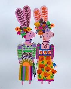 These Frida bunnies are off to London today. #customcommission #bunnies #watercolor #acrylagouache #carolyngavinillustration #frida…