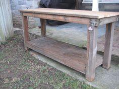 Vintage Primitive Kitchen Island Table Rustic Work Bench Reclaimed Wood | eBay