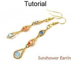 Beading Tutorial Pattern Earrings - Crystal Beadwoven Jewelry Making Instructions - Simple Bead Patterns - Sunshower Earrings #11657