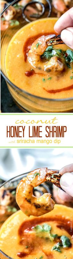 Easy grilled or stovetop Coconut Honey Lime Shrimp bursting with flavor bathed in the most intoxicating creamy sweet heat Sriracha Mango Dip.