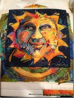 "Susan Carlson - quilt artist from Maine - quilt ""mosaics"" Fabric Painting, Fabric Art, Animal Quilts, Sun Art, Textile Fiber Art, Quilting Projects, Quilting Ideas, Applique Quilts, Quilt Tutorials"