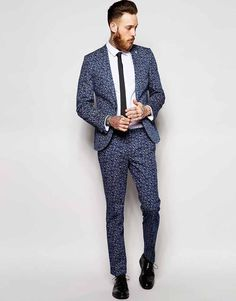 Image 1 of Noose & Monkey Printed Ao Ditsy Floral Suit In Skinny Fit Blue