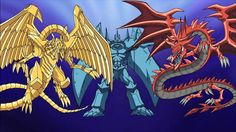 the three Egyptian gods. left the winged dragon of Ra, middle obelisk the tormentor, right Slyfer the sky dragon