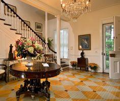 Cool floor! Greek Revival Home In Saratoga Springs | House & Home | Photo via Stribling & Associates