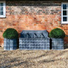 Zinc Planters, Outdoor Lighting, Outdoor Decor, Water Features, Swimming Pools, Fountain, Garden Design, Brick, Fire