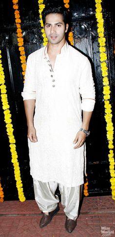 at Ekta Kapoor's 2013 Diwali Party Varun Dhawan in a Pathan Suit