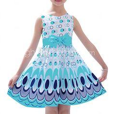 Vestido Chica de-Noche-Estampado-Mezcla de Algodón-Verano / Invierno / Otoño / Primavera-Azul / Rosa 2016 - $6.99