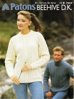 Vintage ladies aran sweater knitting pattern PDF DK womens cable round or polo neck jumper 32-42 inch DK light worsted 8ply Instant Download by Hobohooks on Etsy
